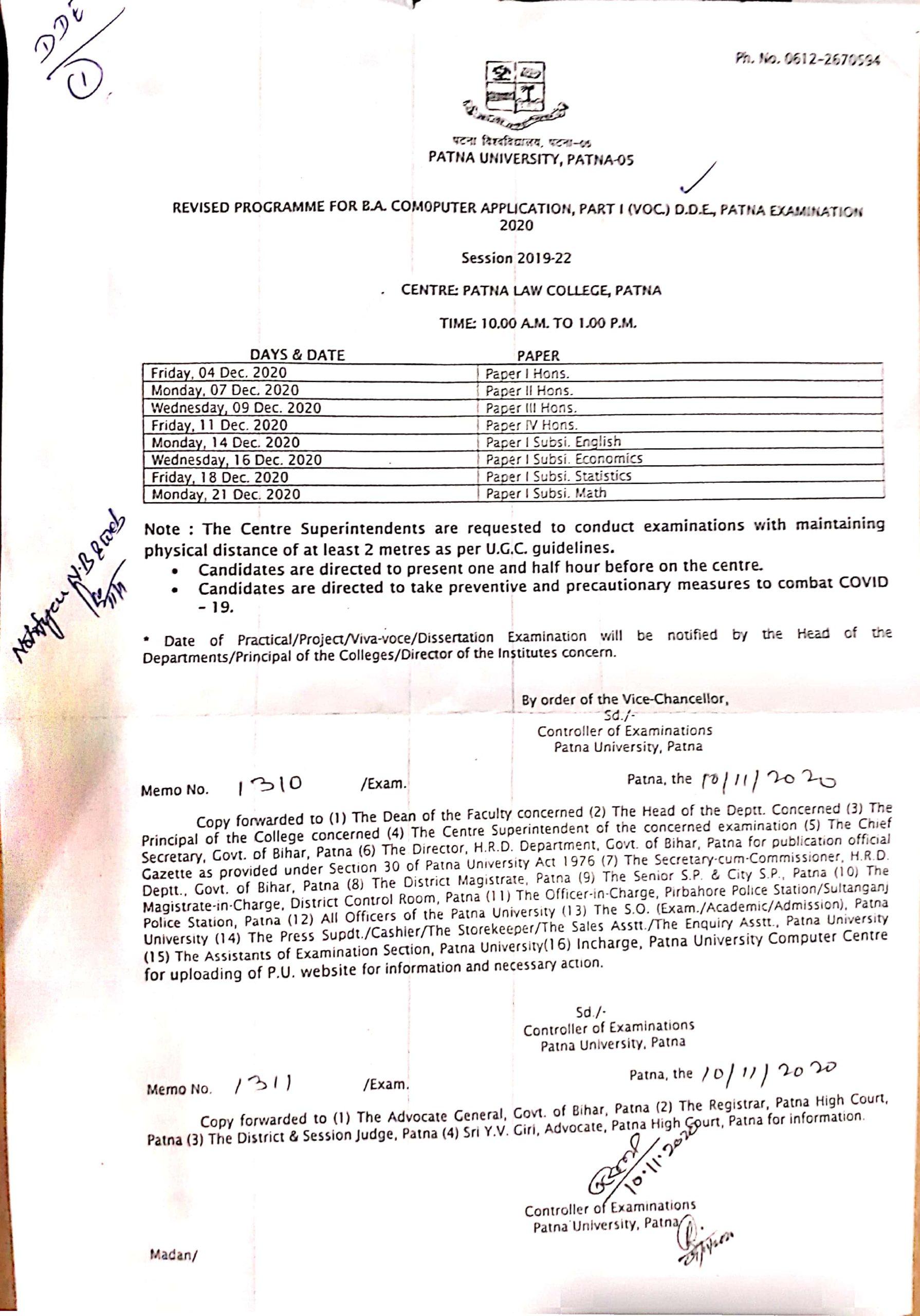 Revised Programme For B.A. Computer Application, Part I (VOC) D.D.E., Patna Examination 2020 Session 2019-20